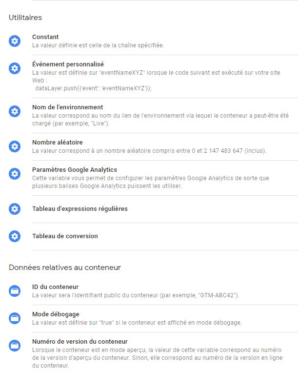 variables Google tag manager